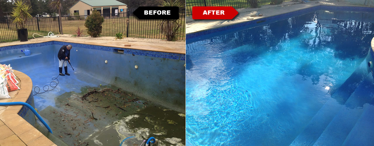 Before and After Pool Clean